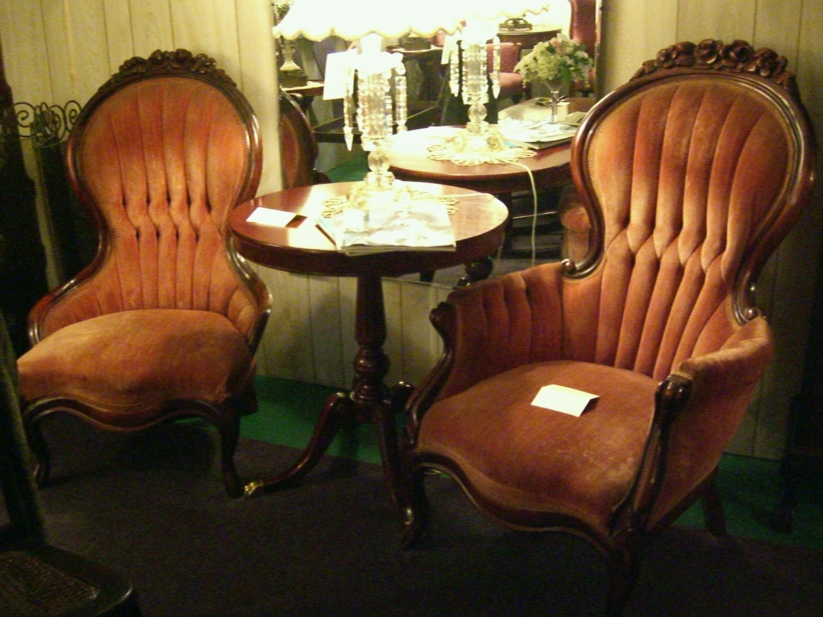 Two upholstered c 1940 Victorian Parlor chairs